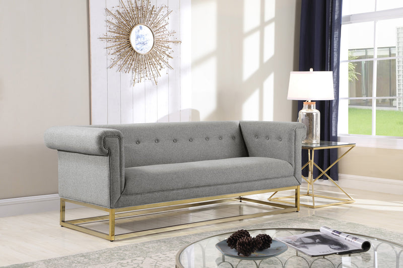 Iconic Home Palmira Penelope Cassandra Gloria Paloma Button Tufted Rolled Arm Sofa Grey Main Image