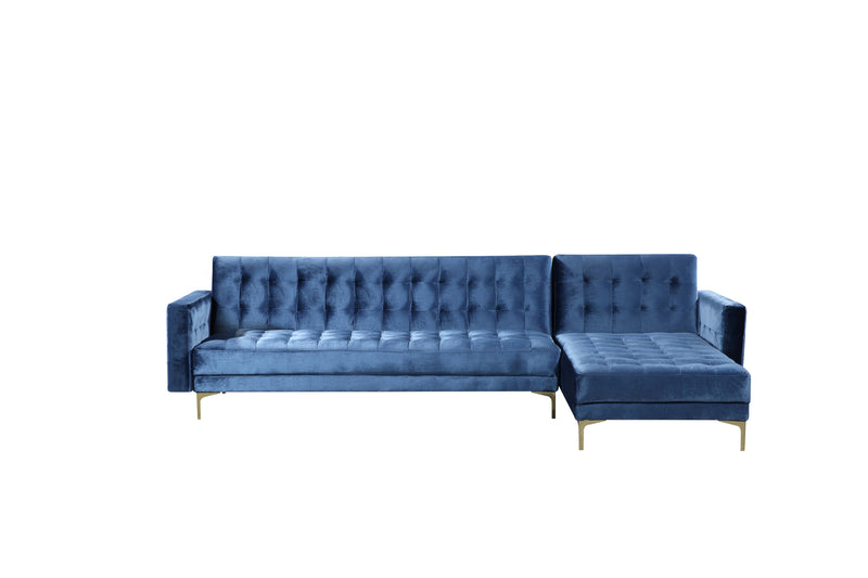 Iconic Home Amandal Right Facing Sectional Sofa Sleeper Bed Velvet Upholstered Goldtone Y-Leg Navy