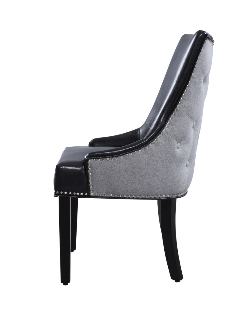 Iconic Home Brando Dining Chair PU Leather Linen Upholstery Nailhead Trim Wood Legs Black (Set of 2)