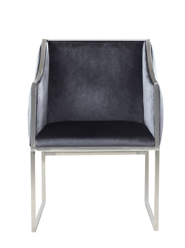 Iconic Home Rowan Accent Club Chair Velvet Upholstered Brass Finished Stainless Steel Frame Grey