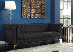 Iconic Home Winston Dwight MacArthur Patton Custer PU Leather Button Tufted Sofa Black Main Image