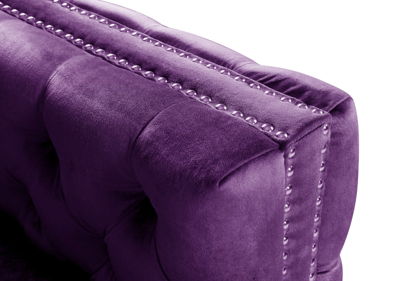 Iconic Home Mozart Right Facing Sectional Sofa Velvet Button Tufted Nailhead Trim Metal Y-Leg Plum