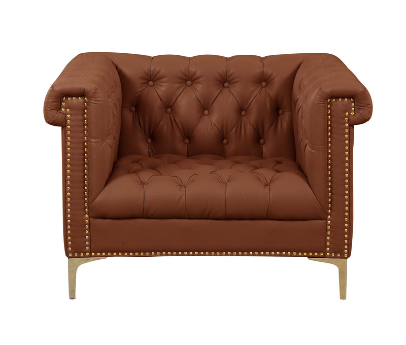 Iconic Home Winston PU Leather Button Tufted Nailhead Trim Metal Legs Accent Club Chair Brown