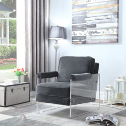 Iconic Home Logan Archibald Rodric Emman Gavin Accent Club Chair Velvet Upholstered Acrylic Frame Grey Main Image