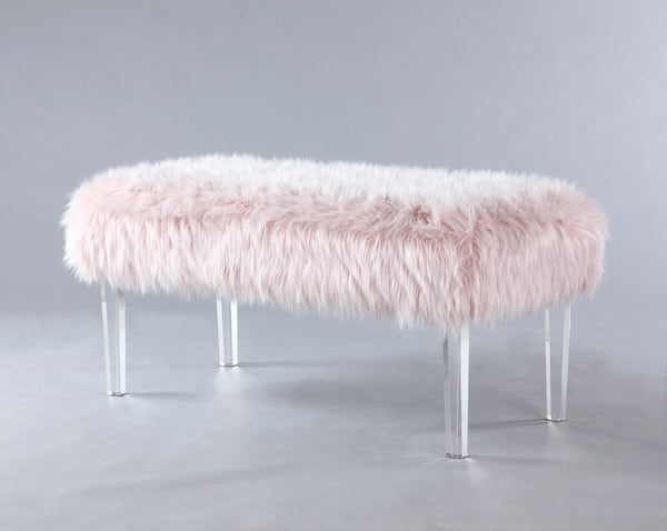 Iconic Home Trento Faux Fur Bench Acrylic Legs Ottoman Pink