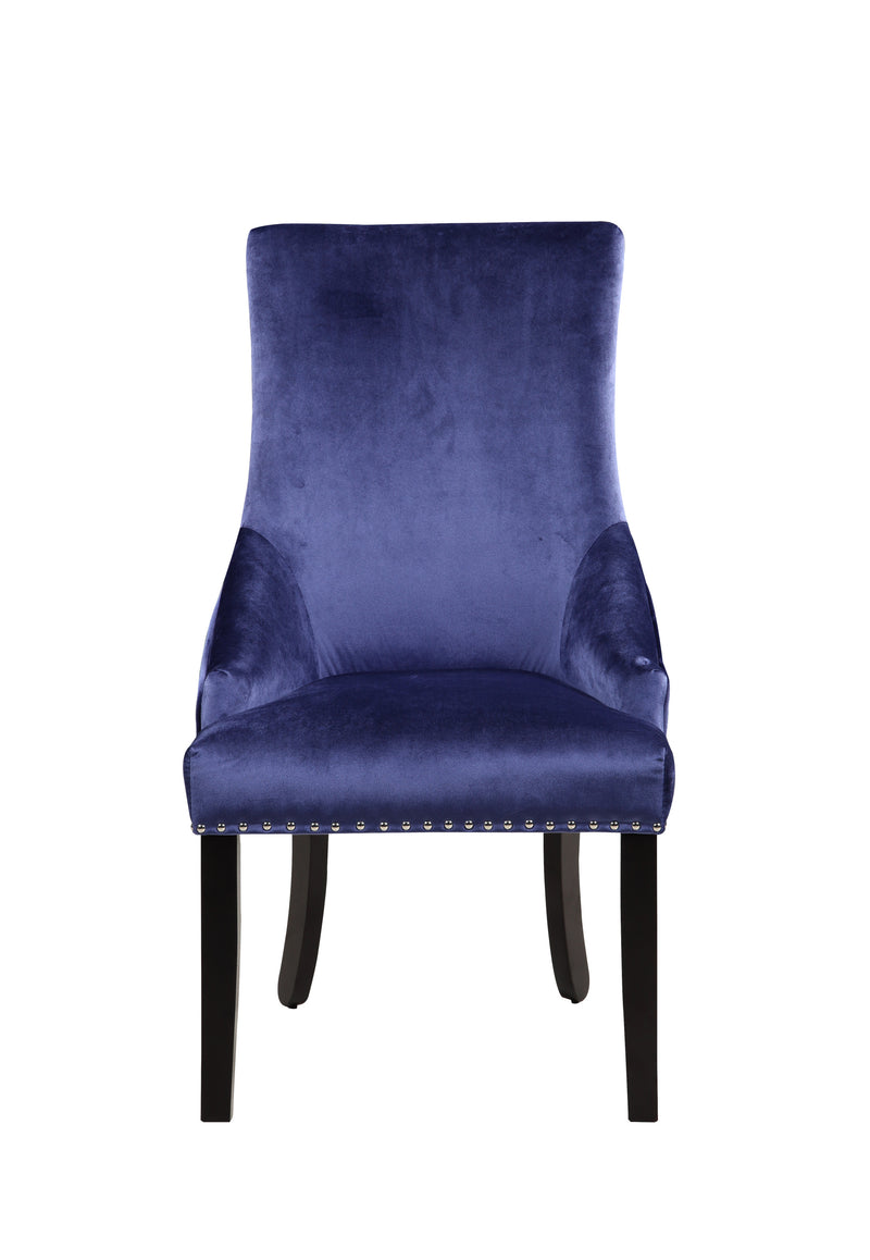 Iconic Home Machla Dining Chair Button Tufted Velvet Upholstered Nailhead Trim Wood Legs Navy
