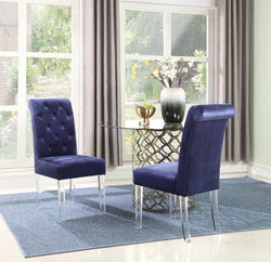 Iconic Home Sharon Sharyn Helga Tate Metzger Dining Side Chair Button Tufted Velvet Upholstered Acrylic Legs Navy (Set of 2) Main Image