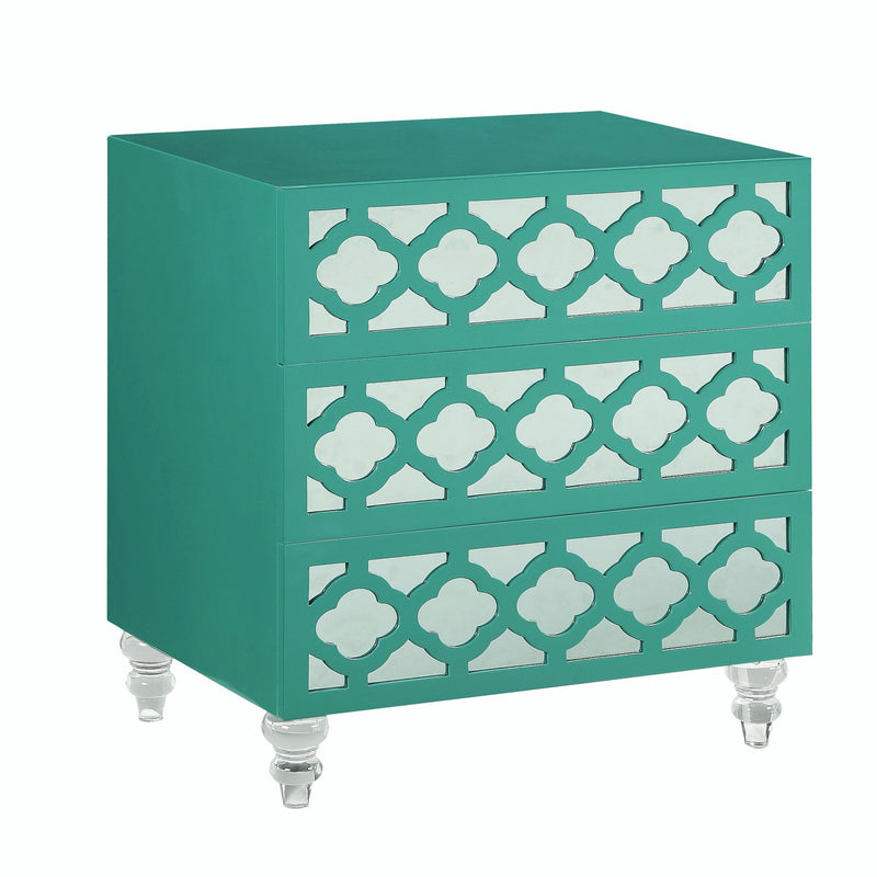 Iconic Home Bergamo Side Table Nightstand 3 Self Closing Mirror Drawers Acrylic Legs Turquoise