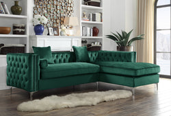Iconic Home Da Vinci Michelangelo Picasso Monet Bosch Button Tufted Velvet Right Facing Chaise Sectional Sofa Green Main Image