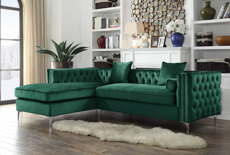 Iconic Home Da Vinci Michelangelo Picasso Monet Bosch Button Tufted Velvet Left Facing Chaise Sectional Sofa Green Main Image