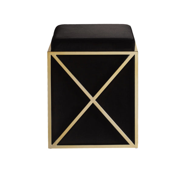 Iconic Home Vana Square Ottoman Velvet Upholstered Brass Finished Stainless Steel X Frame Black