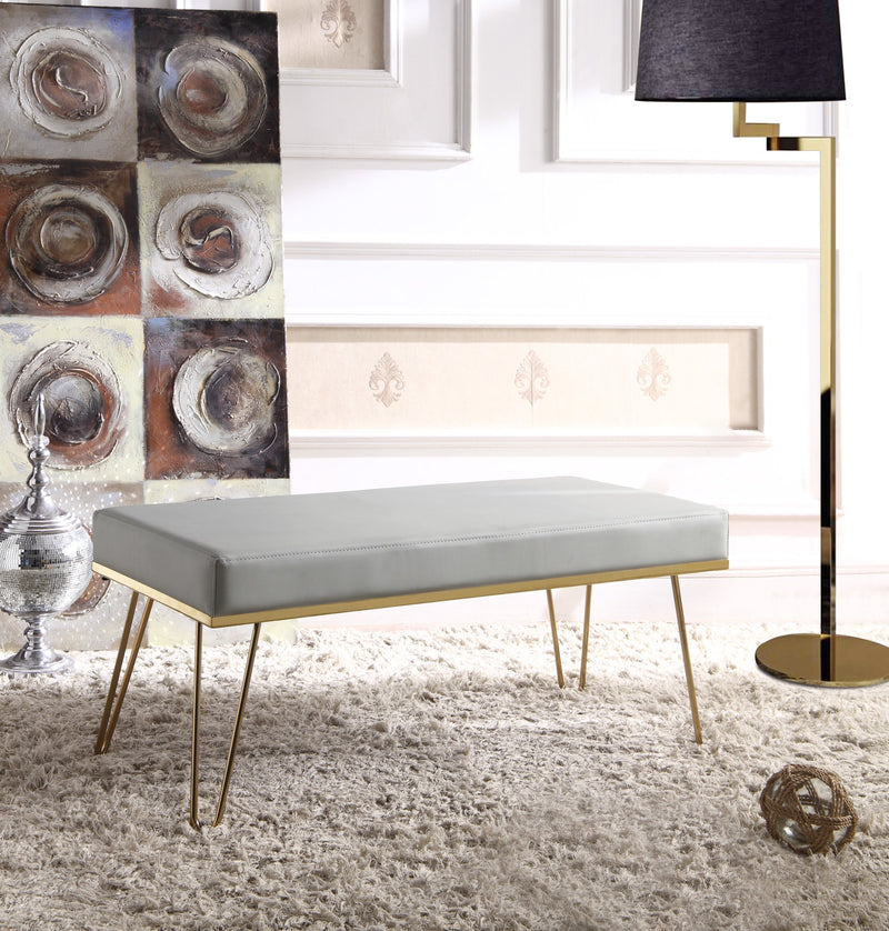 Iconic Home Aldo Aldrych Aldon Aldelfo Aldan Bench PU Leather Upholstered Brass Finished Metal Frame Hairpin Legs Grey Main Image