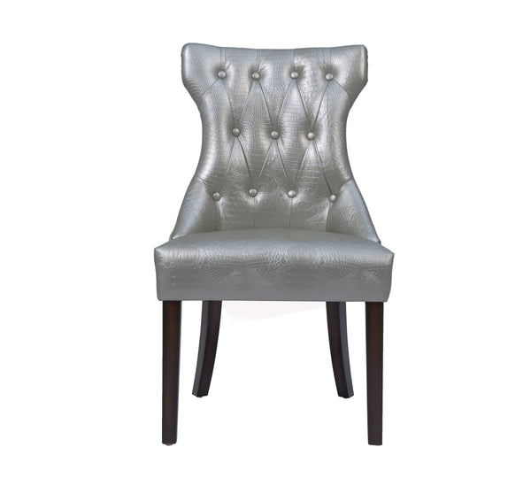 Iconic Home Dickens Dining Side Chair Button Tufted PU Leather Espresso Wood Legs Silver (Set of 2)