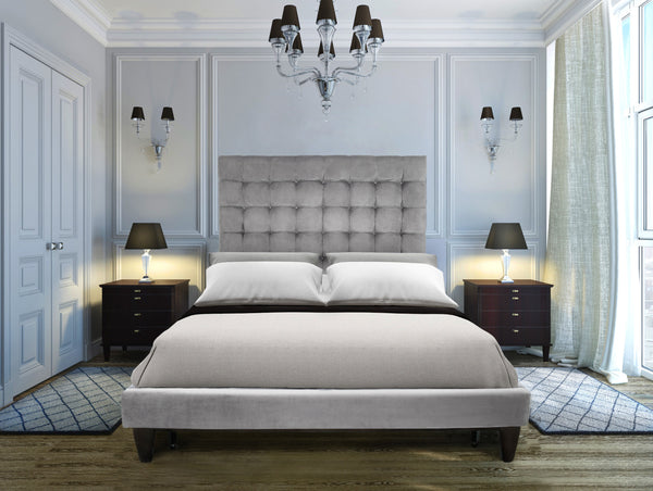 Iconic Home Beethoven Elgar Chopin Handel Verdi Bed Frame and Headboard Tufted Velvet Upholstered Tapered Wood Legs Light Grey Main Image