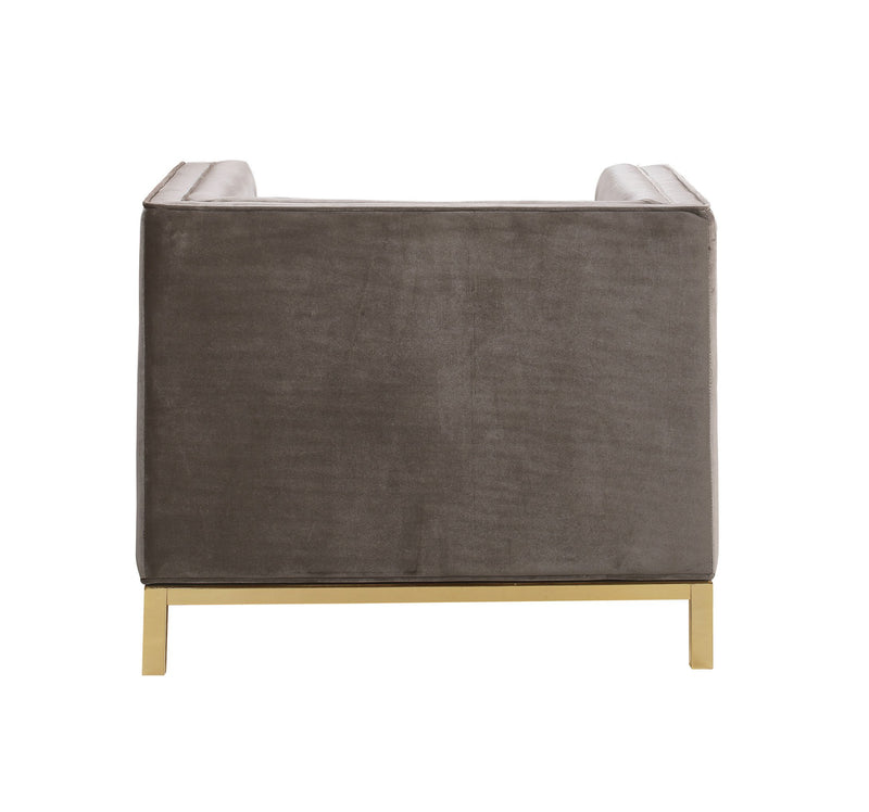 Iconic Home Dafna Club Chair Tufted Velvet Brass Finished Stainless Steel Brushed Metal Frame Taupe