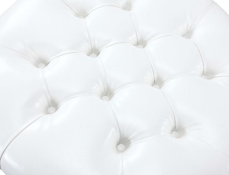 Iconic Home Mona Round Storage Ottoman Button Tufted PU Leather Upholstered Espresso Wood Legs White