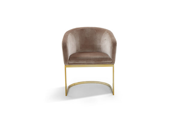 Iconic Home Siena Shell Accent Chair Velvet Upholstered U-Shaped Gold Plated Solid Metal Base Taupe