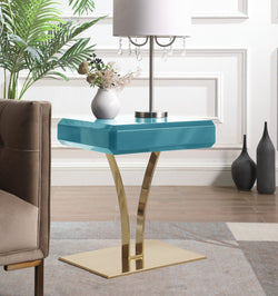 Iconic Home Rochelle Tanisha Jannah Courtney Shenae, Side Table Nightstand Gold Plated Solid Metal Stem Base Self Close Drawer Green Main Image