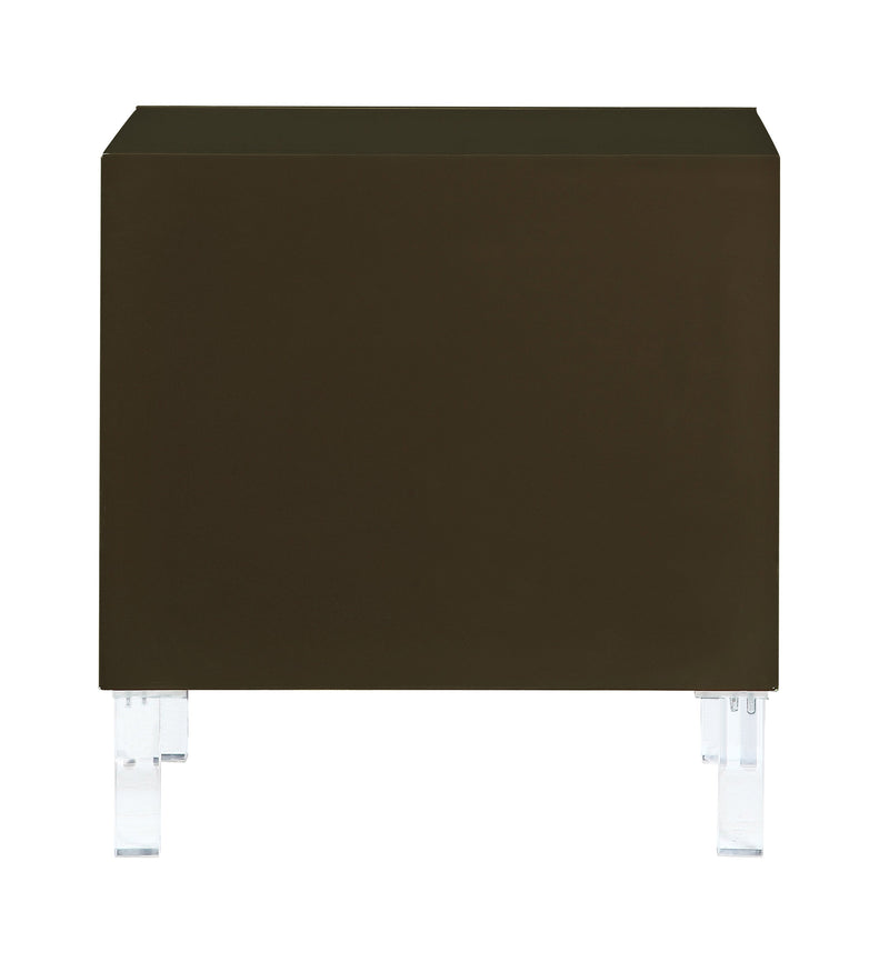 Iconic Home Naples Side Table Nightstand 2 Self Closing Drawers Lacquer Finish Acrylic Legs Brown