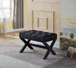 Iconic Home Paige Divina Bettina Gaia Agatha X Frame Nailhead Trim Linen Tufted Ottoman Bench Black Main Image