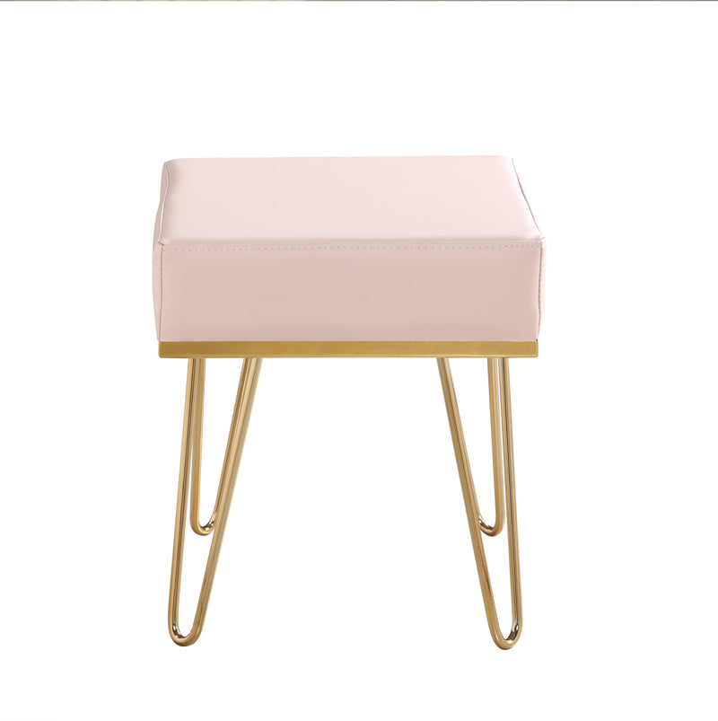Iconic Home Catania Square Ottoman PU Leather Brass Finished Solid Metal Frame Hairpin Legs Rose