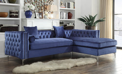 Iconic Home Da Vinci Michelangelo Picasso Monet Bosch Button Tufted Velvet Right Facing Chaise Sectional Sofa Navy Main Image