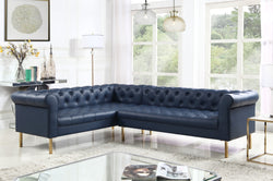 Iconic Home Giovanni Dominic Mateo Julian Noah Left Facing Sectional Sofa L Shape PU Leather Upholstered Gold Tone Legs Navy Main Image