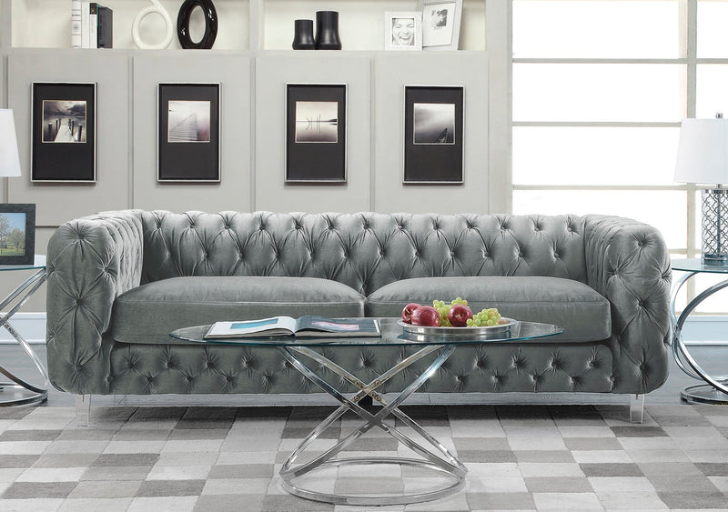 Iconic Home Syracus Castor Phobos Apollo Morgan Tufted Velvet Plush Club Sofa Grey Main Image