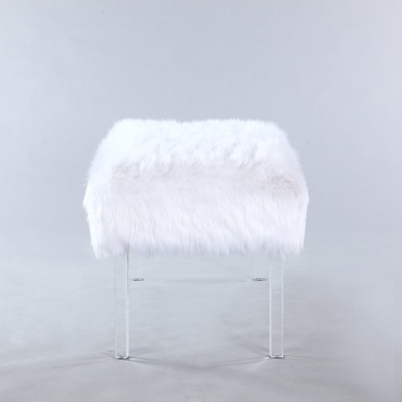 Iconic Home Trento Faux Fur Bench Acrylic Legs Ottoman White