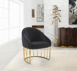 Iconic Home Teatro St. George Hammerstein Vivienne Rouge Shell Accent Chair Velvet Upholstered Half Moon Gold Tone Solid Metal Base Black Main Image