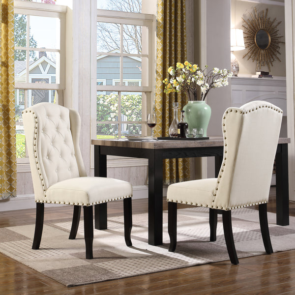Iconic Home Shira Kammen Scheindlin Viola Nayman Wingback Dining Chair Faux Linen Upholstered Nailhead Trim Wood Legs Beige (Set of 2) Main Image