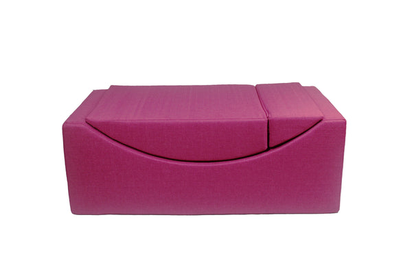 Iconic Home Enzyme Faux Linen Recliner Accent Chair Ottoman Bench Fuchsia