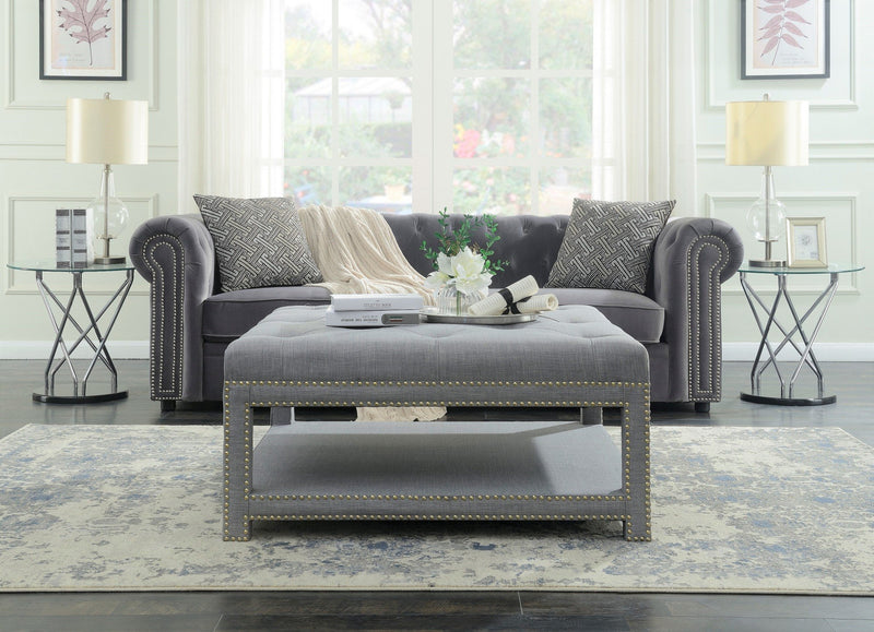 Iconic Home Bina Dara Quinn Micah Tallis Coffee Table Ottoman Linen Upholstered Nailhead Trim 2 Layer Bench Grey Main Image