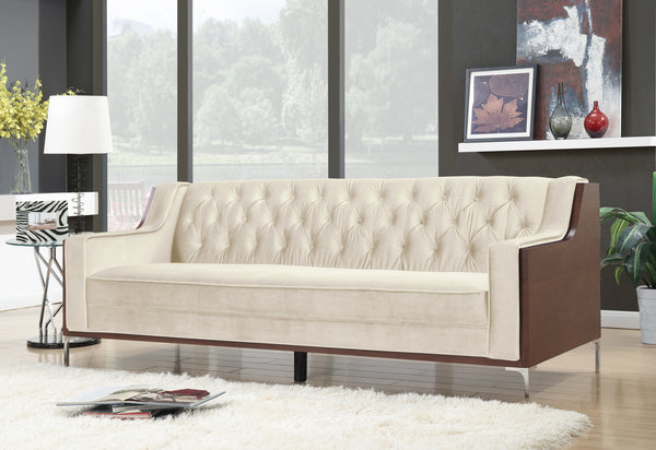 Iconic Home Clark Bruce Xavier Parker Natasha Sofa Button Tufted Velvet Walnut Finish Swoop Arm Wood Frame Metal Y Legs Cream Main Image