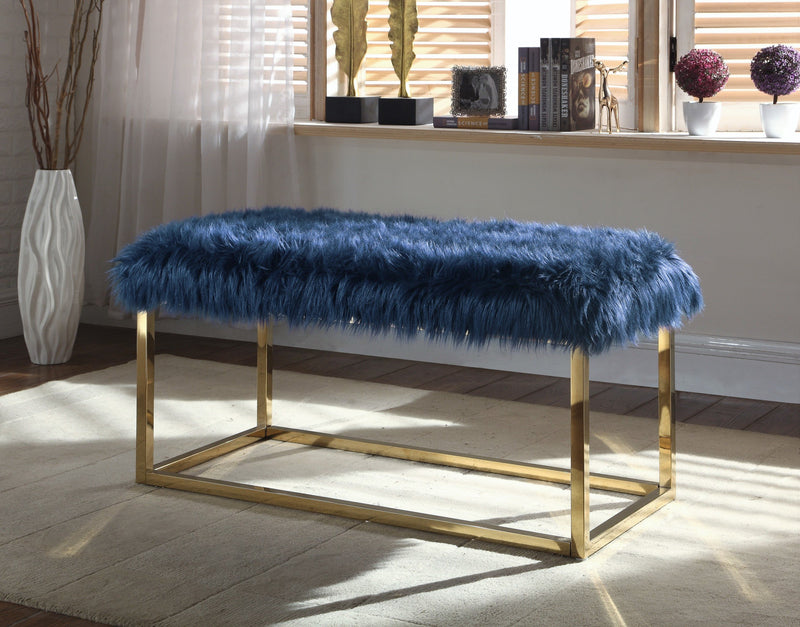 Iconic Home Marilyn Sophia Audrey Carolyn Anne Faux Fur High Polish Metal Frame Ottoman Bench Navy Main Image
