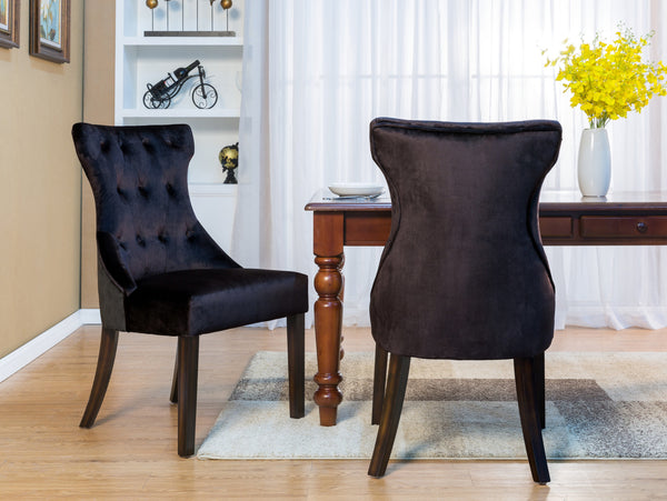 Iconic Home Dickens Shelley Doyle Bronte Austen Dining Side Chair Button Tufted Velvet Espresso Wood Legs Black (Set of 2) Main Image