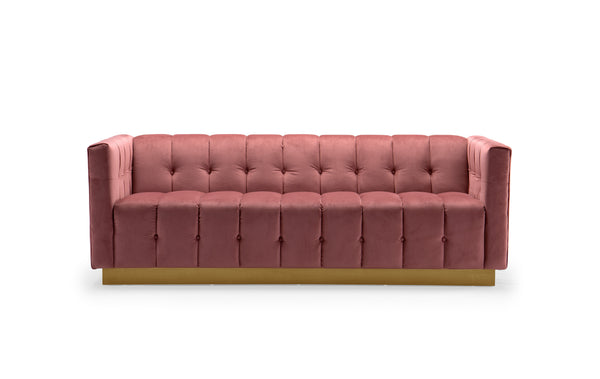 Iconic Home Primavera Sofa Button Tufted Velvet Upholstered Gold Tone Metal Base Rose