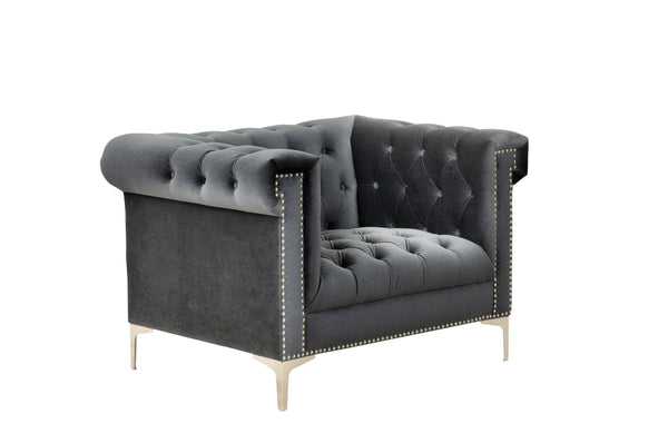 Iconic Home Bea Velvet Button Tufted Nailhead Trim Goldtone Metal Y-Legs Accent Club Chair Grey