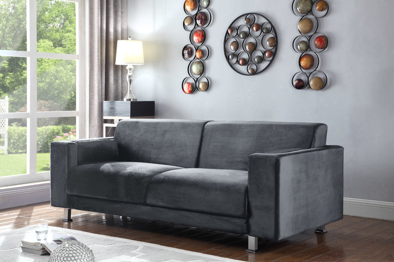 Iconic Home Amarillo Larry Adda Nancy Barbara Sleek Velvet Plush Sofa Grey Main Image