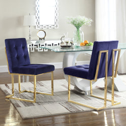 Iconic Home Liam Mason Isaac Pierre Levi Velvet Button Tufted Polish Metal Frame Dining Side Chair (Set of 2) Navy Main Image