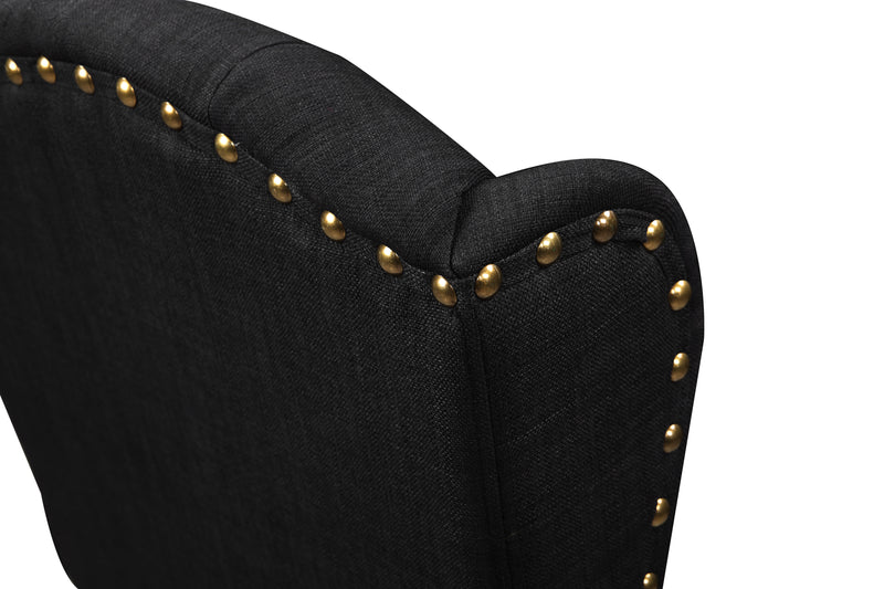 Iconic Home Shira Wingback Dining Chair Faux Linen Upholstery Nailhead Trim Wood Legs Black Set of 2