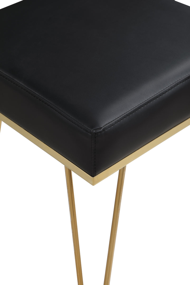 Iconic Home Catania Square Ottoman PU Leather Brass Finished Solid Metal Frame Hairpin Legs Black