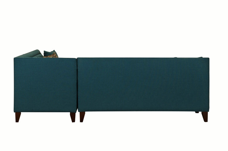Iconic Home Aberdeen Linen Tufted Left Facing Sectional Sofa Teal