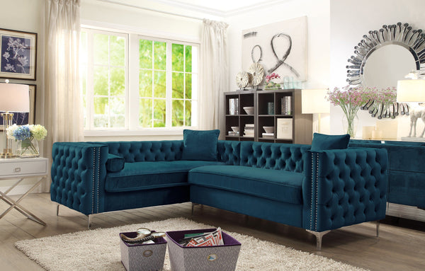 Iconic Home Mozart Weston Astrid Susan Howard Left Facing Sectional Sofa Velvet Button Tufted Nailhead Trim Metal Y-Leg Teal Main Image