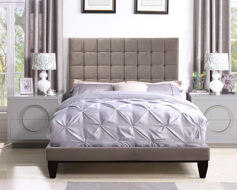 Iconic Home Beethoven Elgar Chopin Handel Verdi Bed Frame with Headboard Tufted Velvet Upholstered Tapered Birch Legs Taupe Main Image