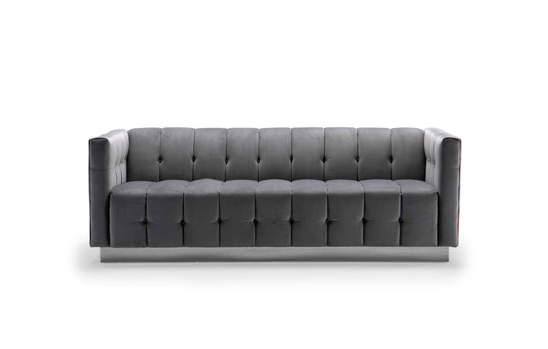 Iconic Home Primavera Sofa Button Tufted Velvet Upholstered Gold Tone Metal Base Grey