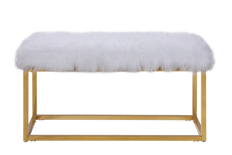 Iconic Home Marilyn Faux Fur High Polish Metal Frame Ottoman Bench White