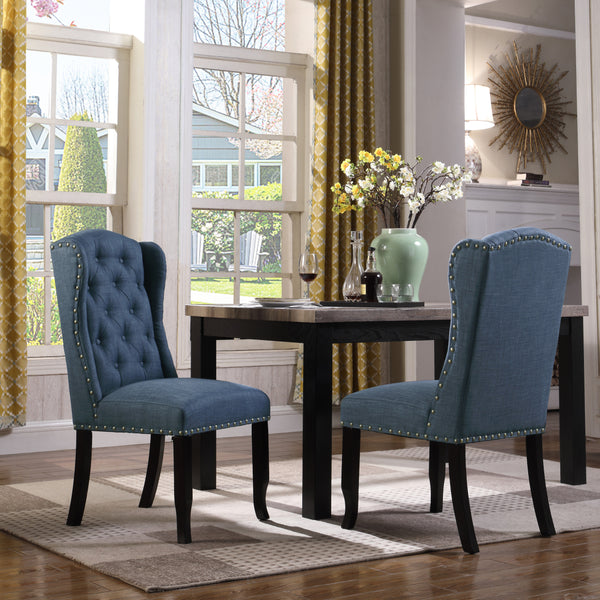 Iconic Home Shira Kammen Scheindlin Viola Nayman Wingback Dining Chair Faux Linen Upholstered Nailhead Trim Wood Legs Navy (Set of 2) Main Image