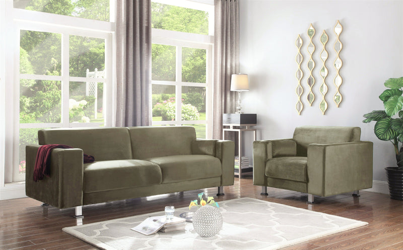 Iconic Home Amarillo Sleek Velvet Plush Sofa Taupe