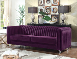 Iconic Home Kent Mark Elli Priscilla Maxx Channel Quilted Velvet Sofa Purple Main Image